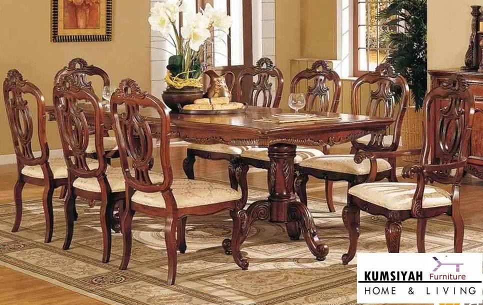 meja makan kayu jati klasik