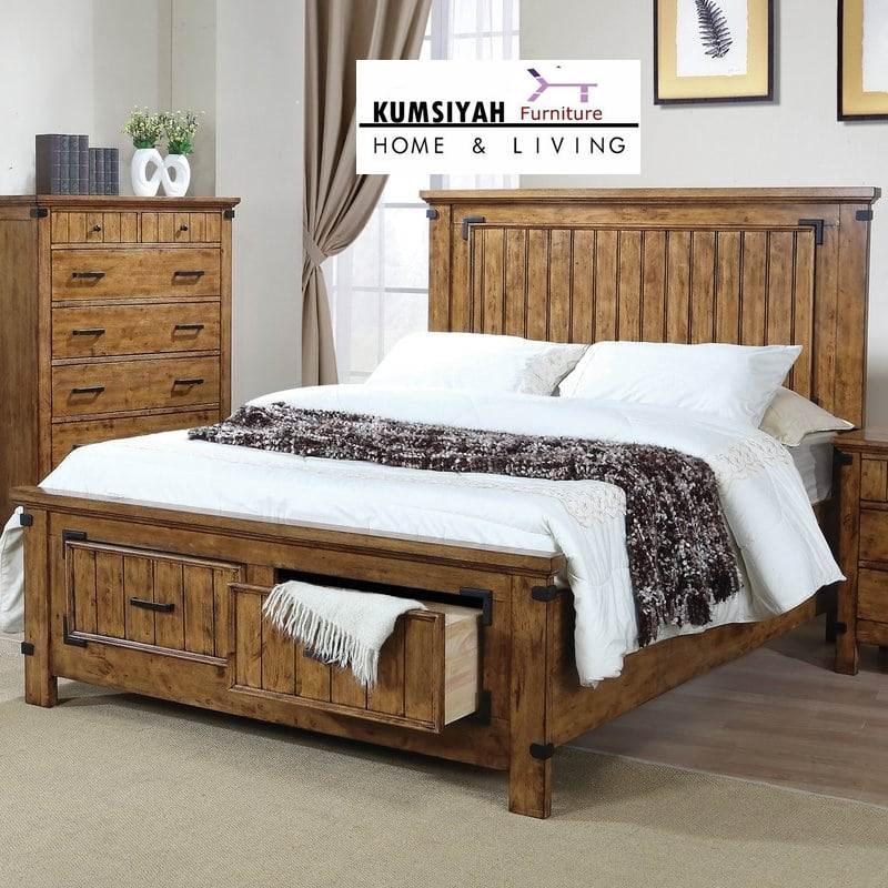 Tempat tidur minimalis model rustik