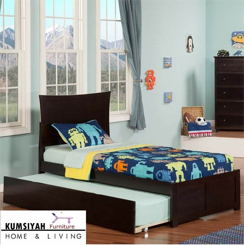tempat tidur sorong minimalis jati