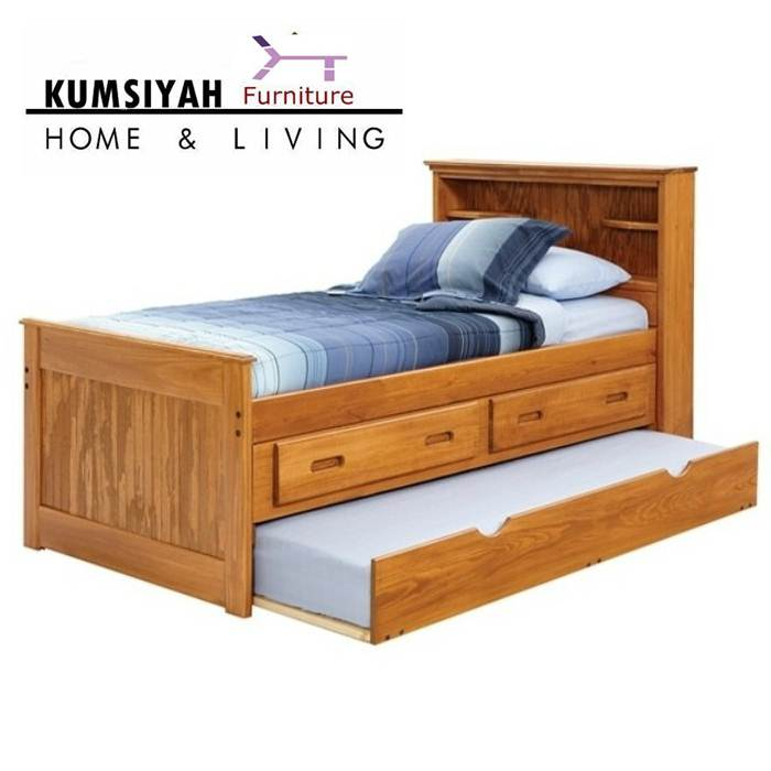 tempat tidur sorong minimalis laci