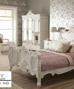 Jual Tempat Tidur Ukiran Mewah Putih Jepara