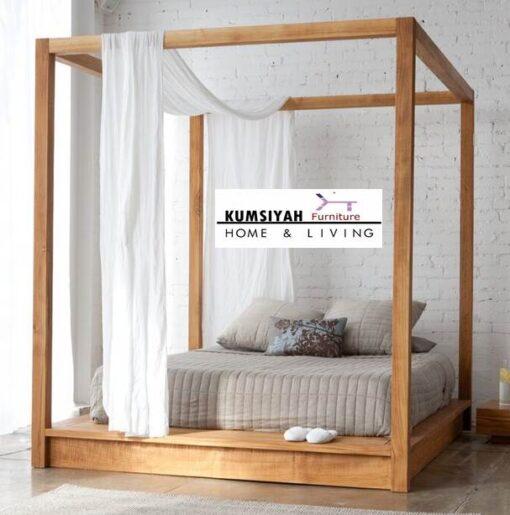 Tempat Tidur Kelambu Minimalis Jati Jepara Terbaru