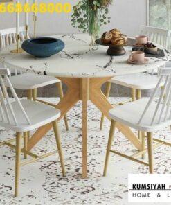 Jual Meja Makan Granit Bulat Desain Modern