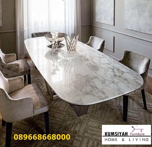 Jual Meja Makan Marmer Carrara Putih Desain Minimalis